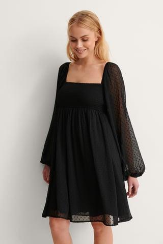 Black Square Neck Dobby Mini Dress