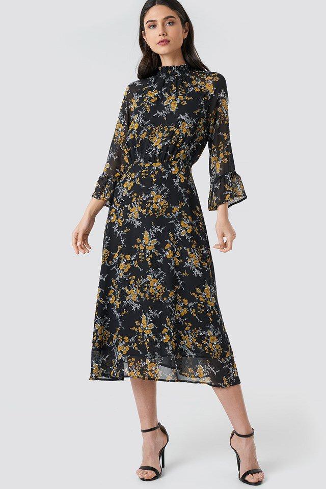Leoprint High Frill Neck Dress