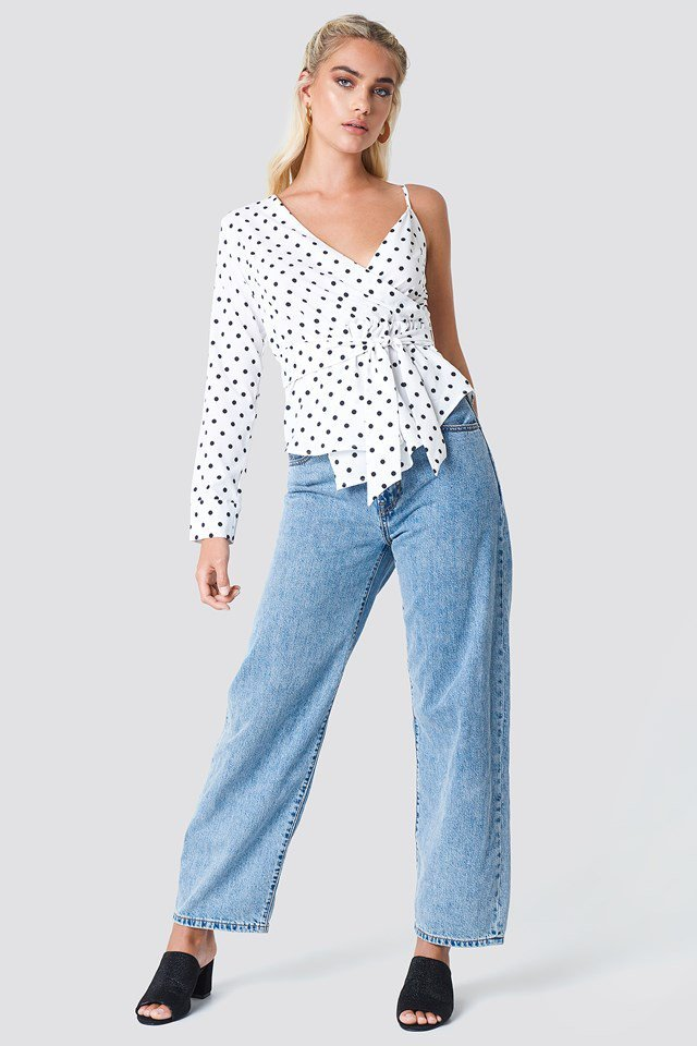 Dotted One Shoulder Blouse with Denim Pants
