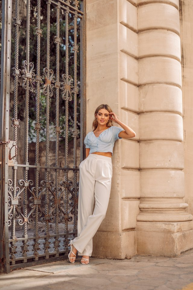 Crop Top X Wide Leg Pants Outfit