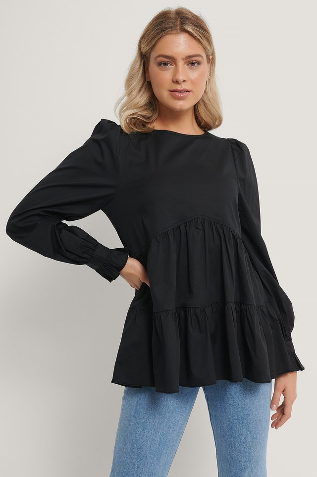 Blouse Met Ruches Black