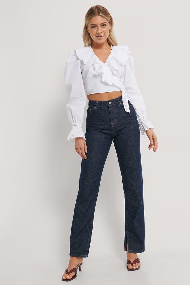White Überlappende Bluse