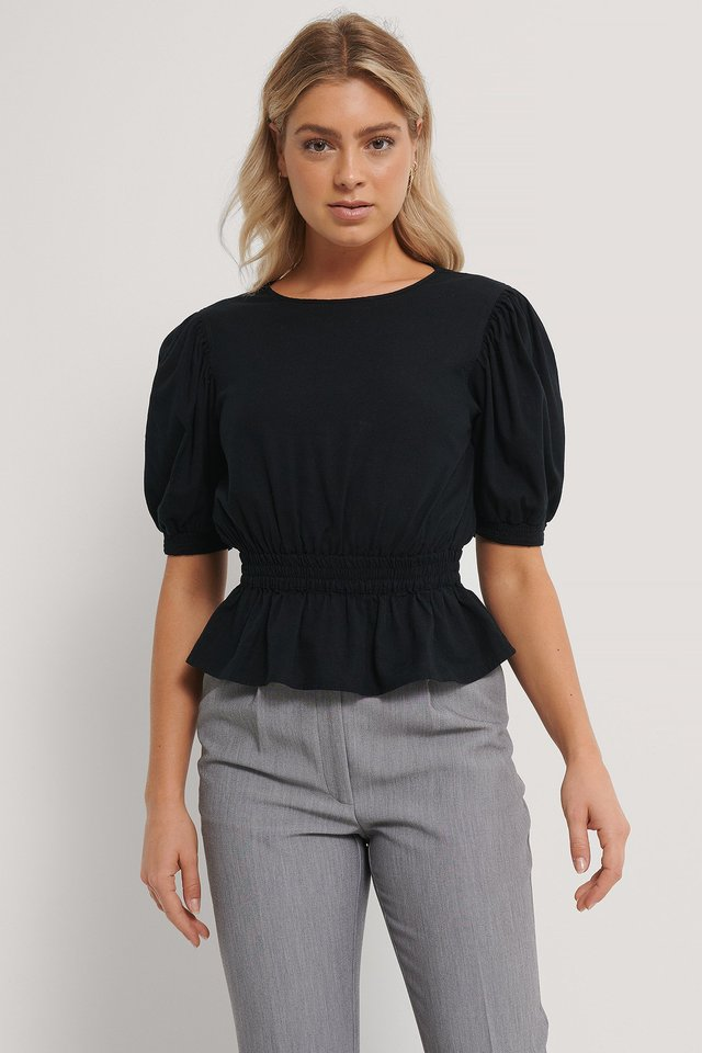 Black Smocked Taille Leinenmischung Bluse