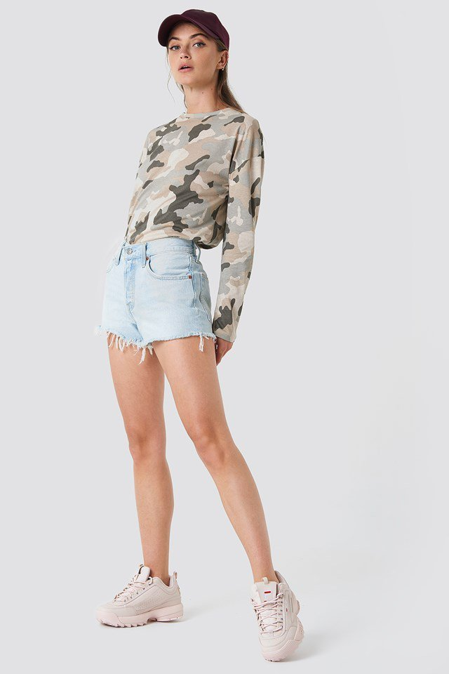 Camouflage Top with Denim Short