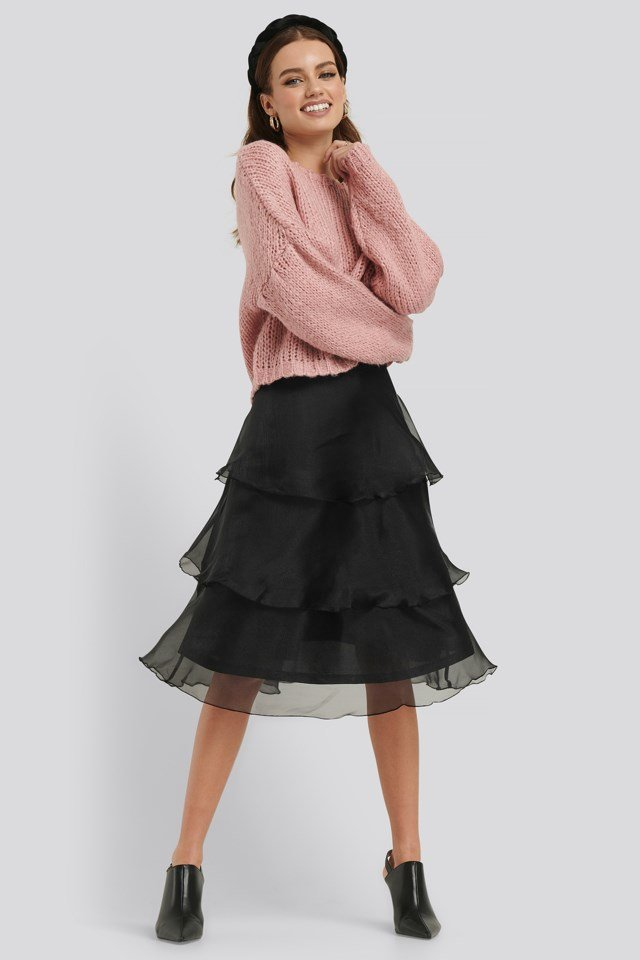 Dropped Balloon Sleeve Knitted Sweater