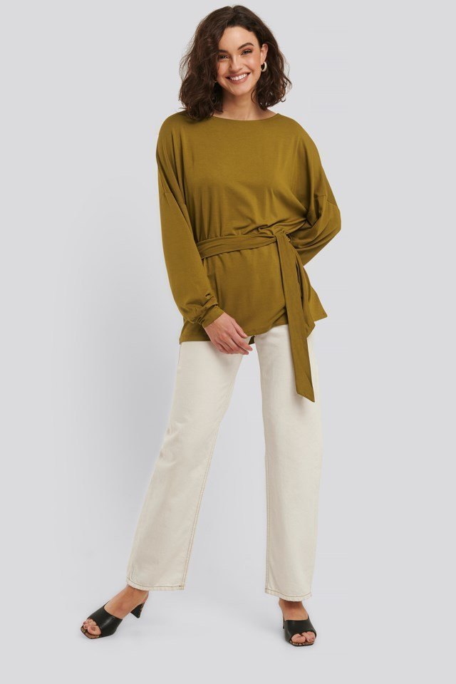 Long Sleeve Belted Top