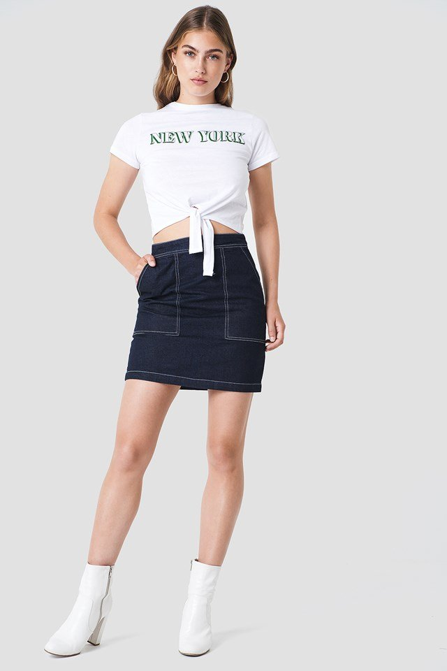 Cropped Top with Denim Skirt
