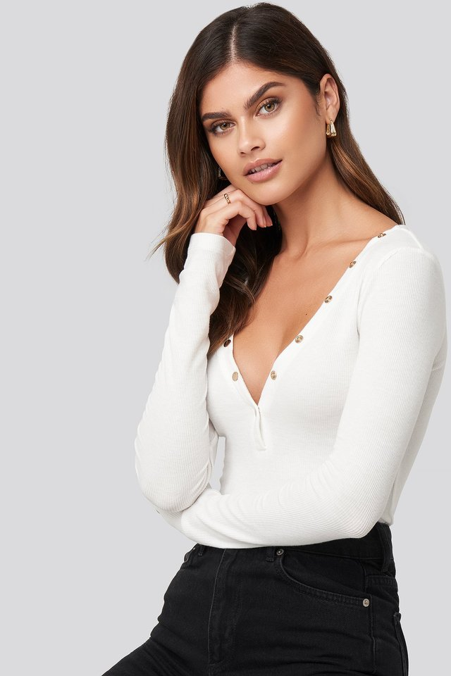 Button Detail Rib Top White