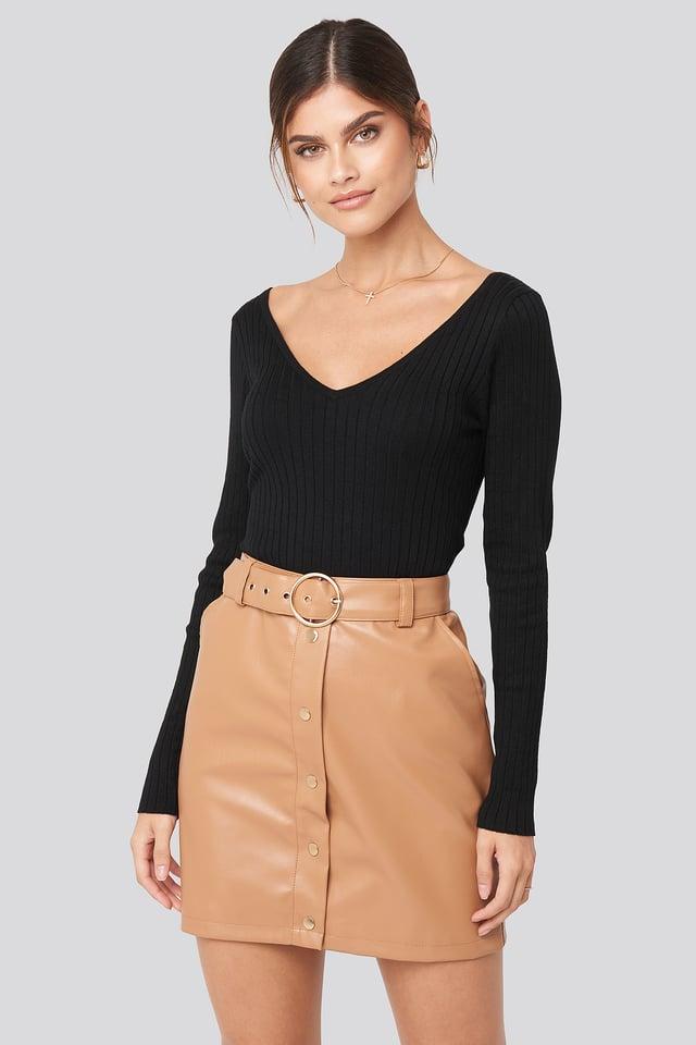 PU Button Detail Skirt Tan