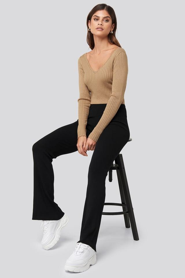 Ribbed Pants Black