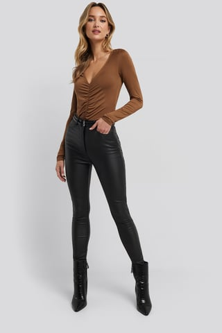 Black Belt Detail Waxed Pants