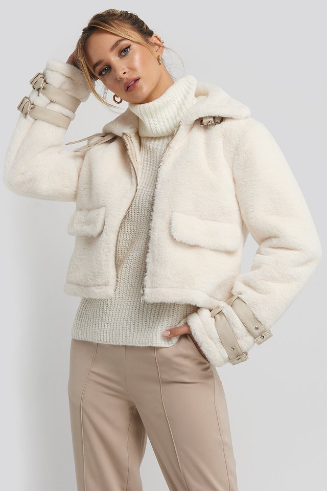 Faux Fur Cropped Jacket Cream