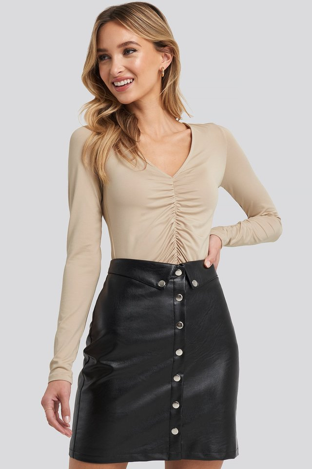 Taupe Ruched Long Sleeve Top