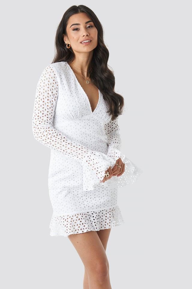 Deep V-Neck Frill Dress White