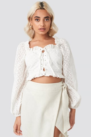 Stone Broderie Anglais Crop Top