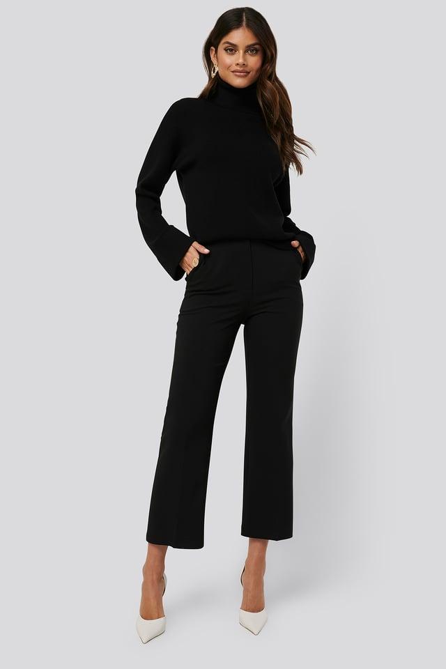 High Waist Pleat Pants Black