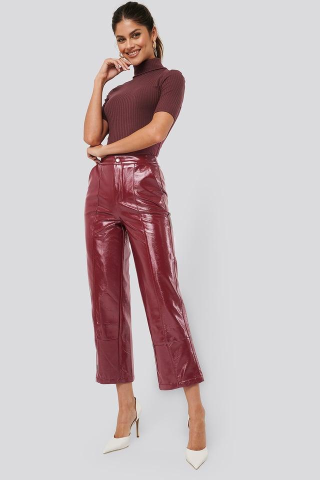 Wine Patent Pants