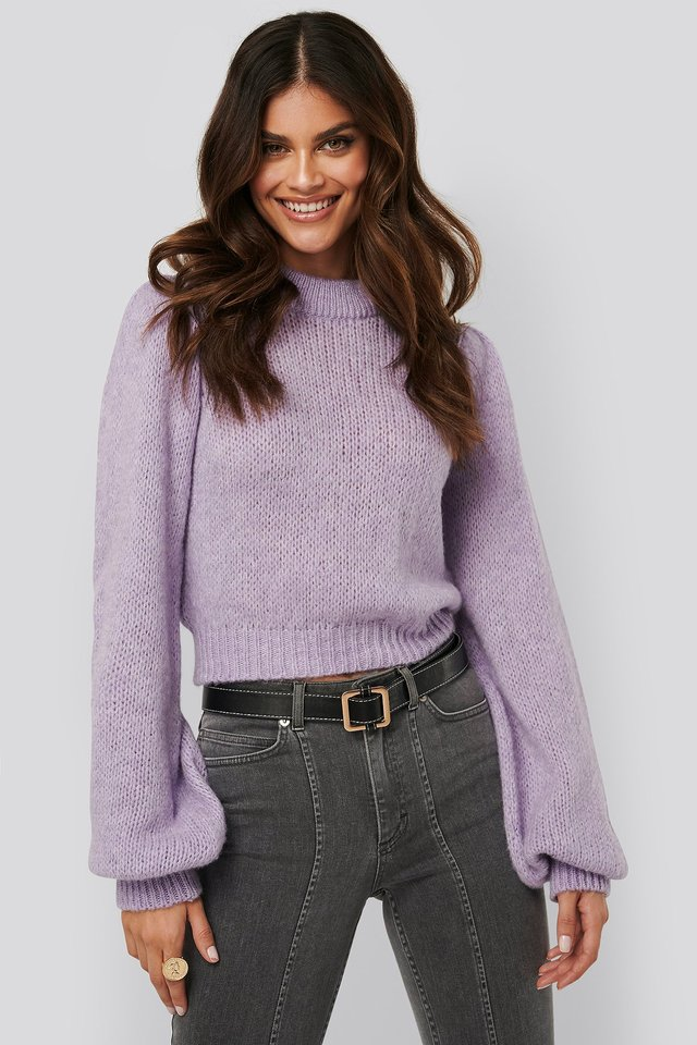 Puff long sleeve sweater Lilac