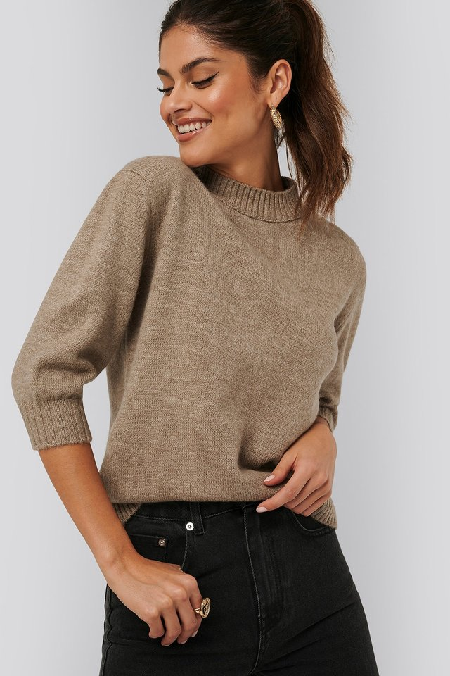 Puff Mid Sleeve Sweater Beige