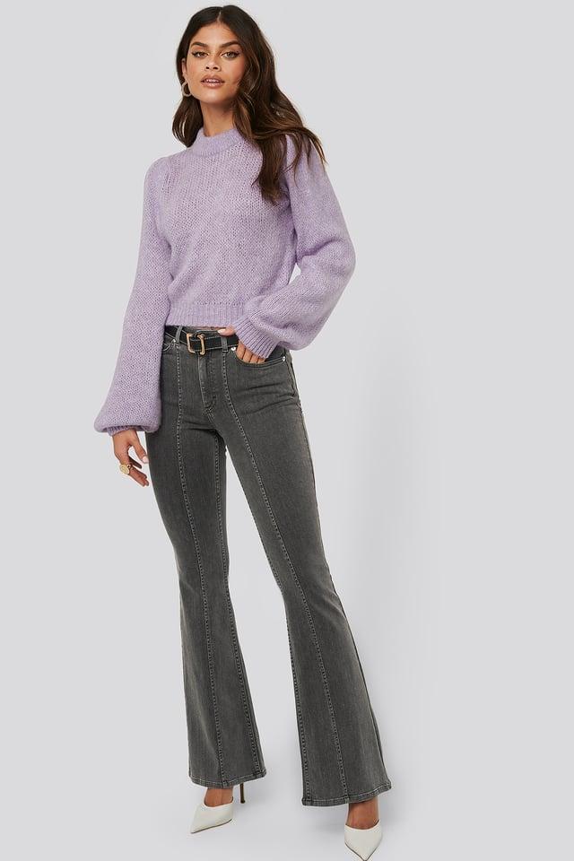 Seam Detail Flare Jeans Light Grey