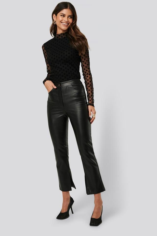 Side Slit PU Pants Black