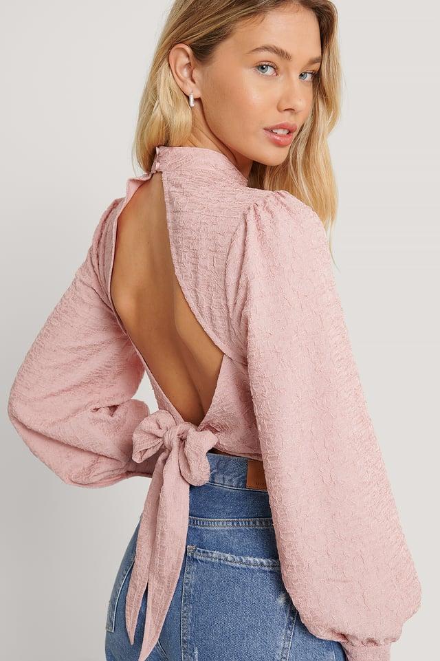 Balloon Sleeve Open Back Blouse Pink