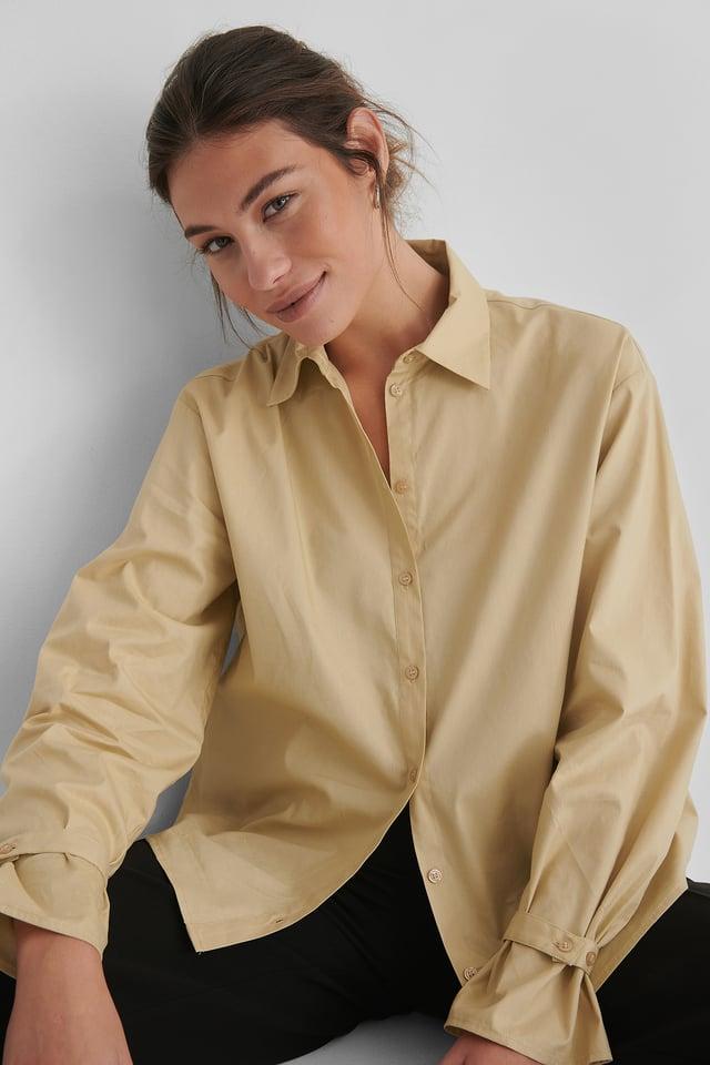 Beige Økologisk Klassisk Bomulds-t-shirt