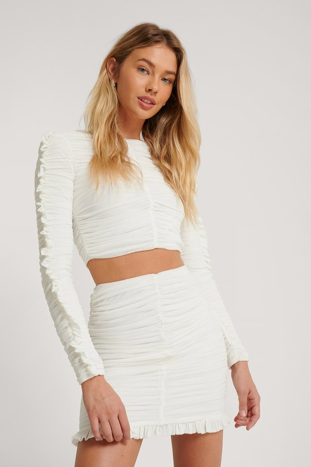 Frill Detail Gathered Top White