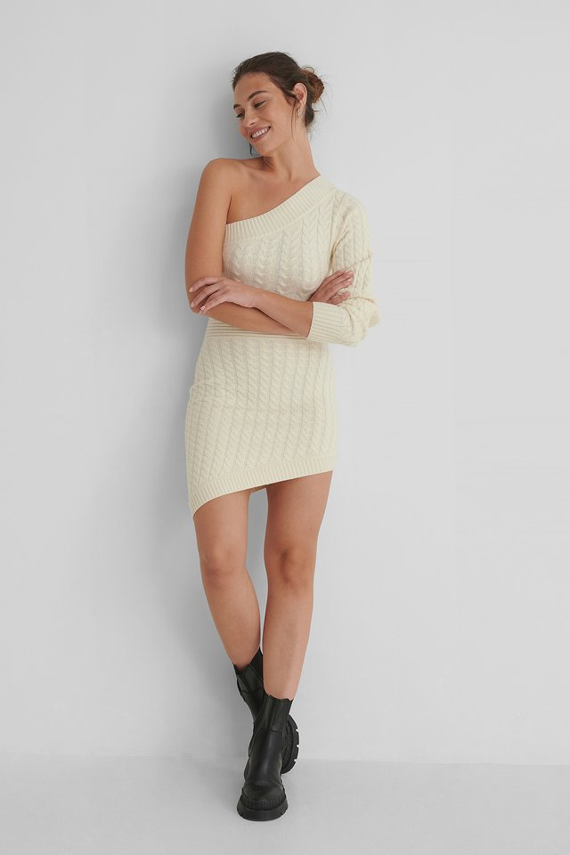 Knitted Asymmetric Dress Offwhite