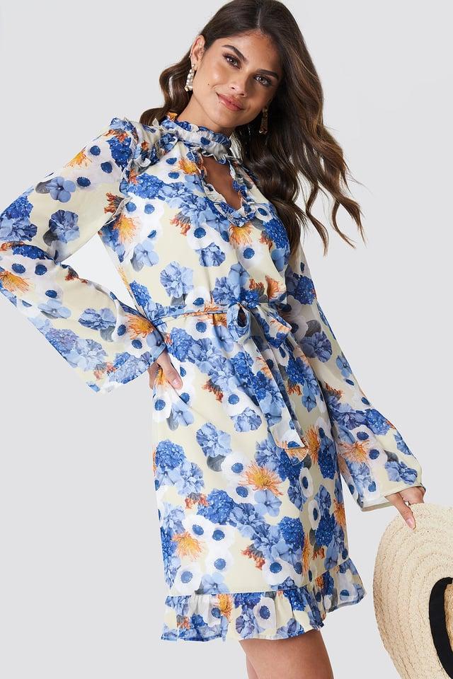 Cut Out Midi Frill Dress Blue Flower Print