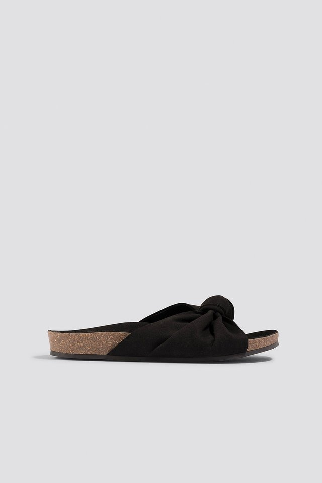 Front Bow Slippers Black