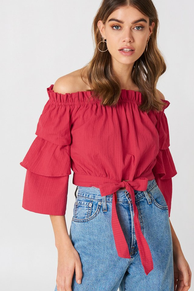 Off Shoulder Frill Sleeve Top Red