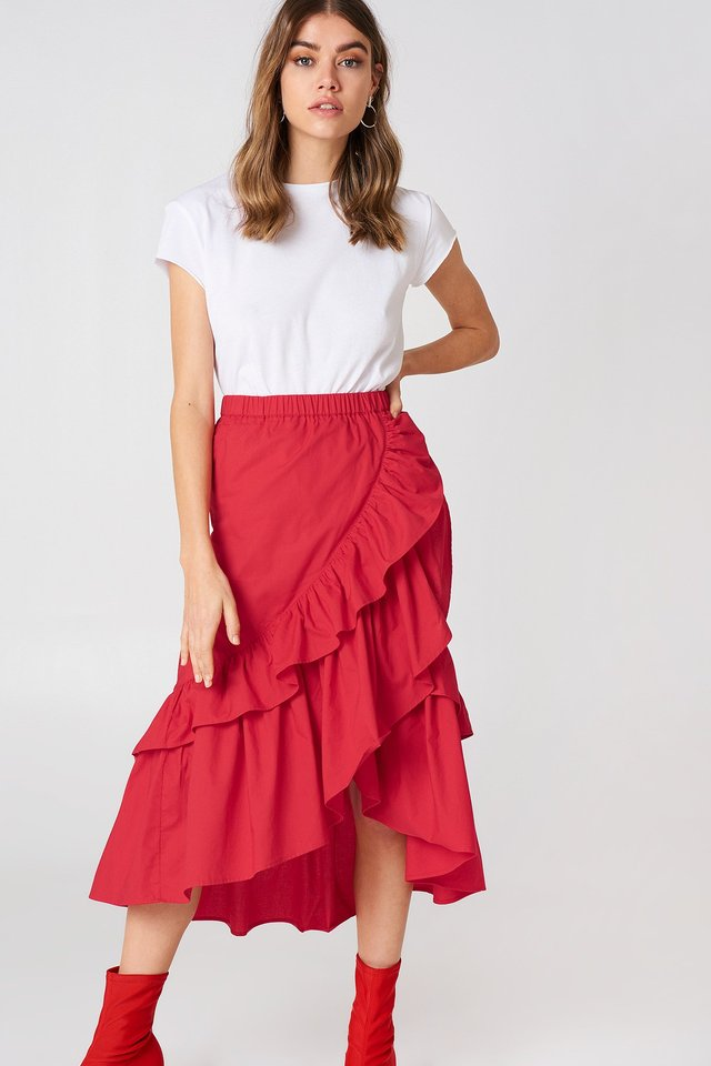 Red Overlap Maxi Frill Skirt