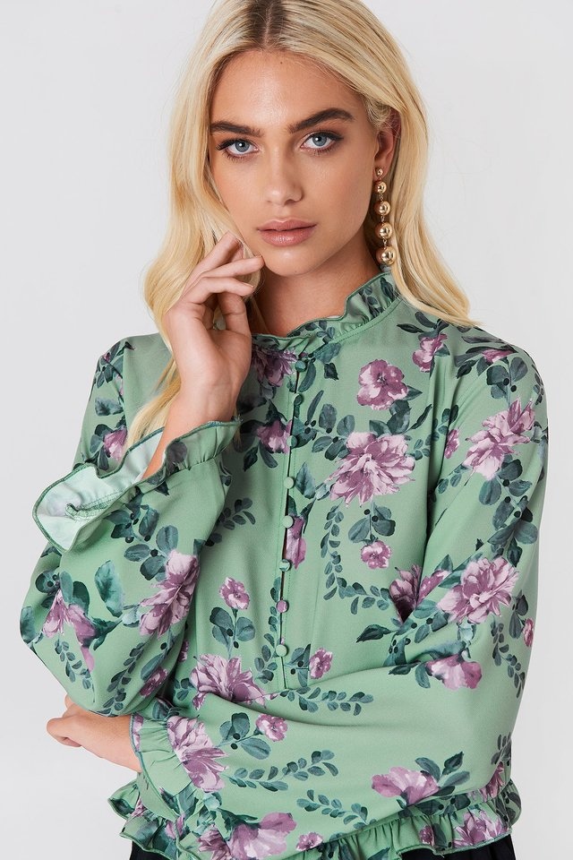 Trumpet Sleeve Frill Blouse Green Flower