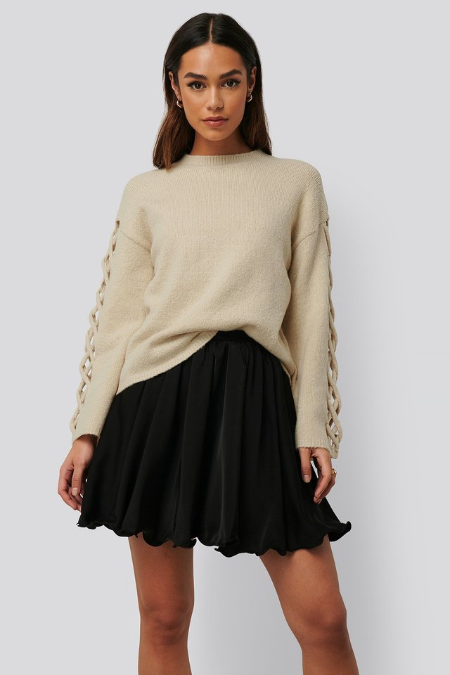Circle Mini Skirt Black