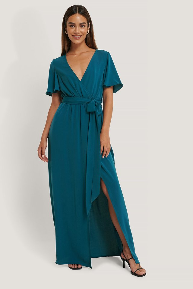 Petrol Deep Front Maxi Dress