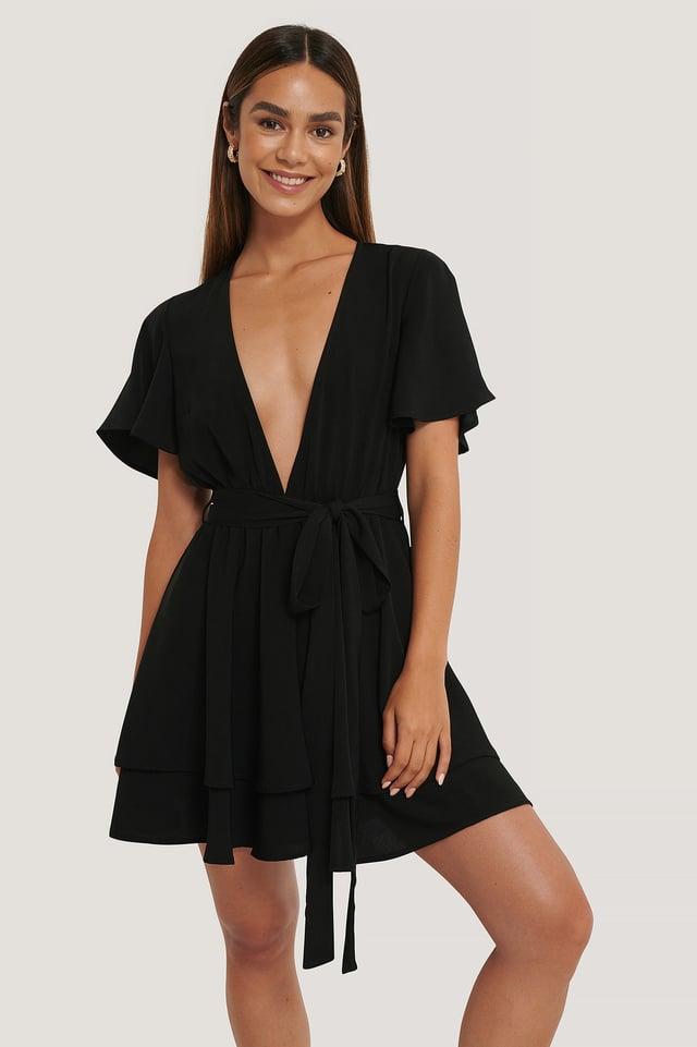 Deep Front Mini Dress Black