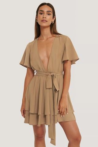 Brown Deep Front Mini Dress