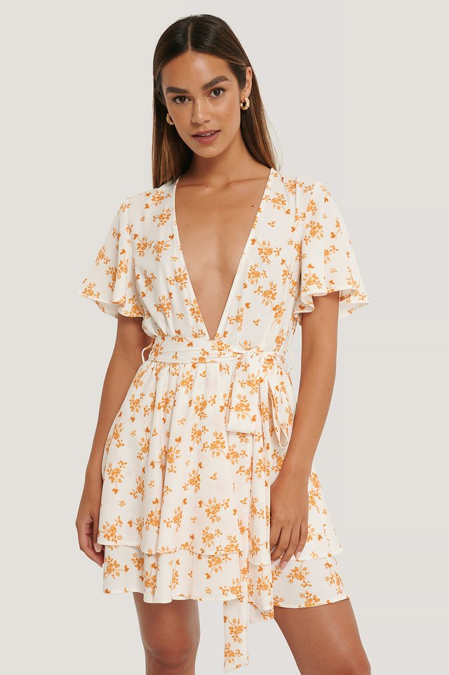 Flower Print Deep Front Mini Dress