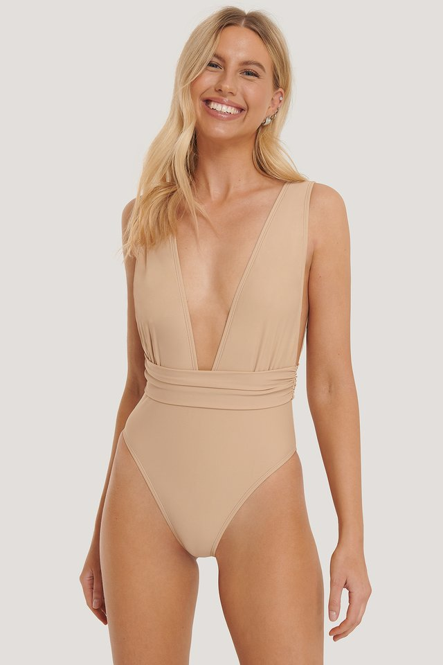 Deep Front Swimsuit Beige