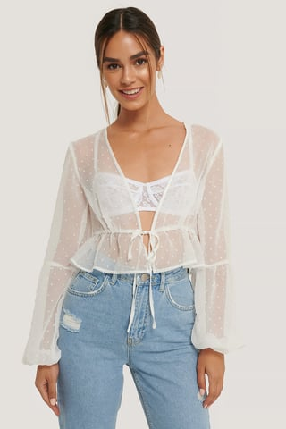 White Dotted Flounce Top
