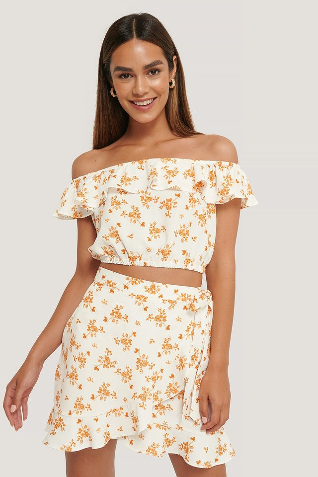Flounce Overlap Mini Skirt Flower Print