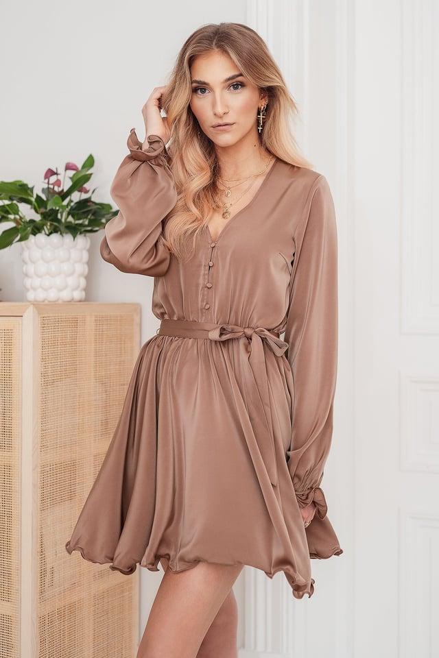 Miniklänning Med Knappdetaljer Dusty Dark Pink