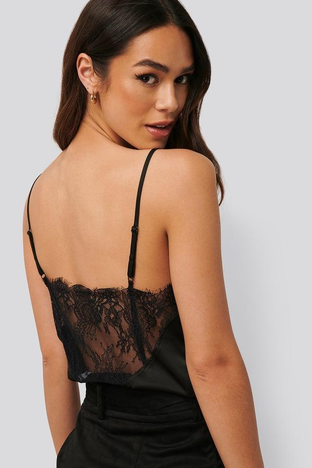 Spitzen-Unterhemd Black