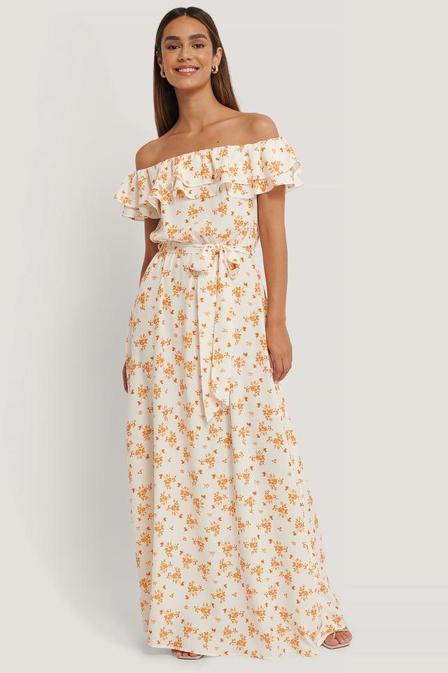 Off Shoulder Maxi Dress Flower Print