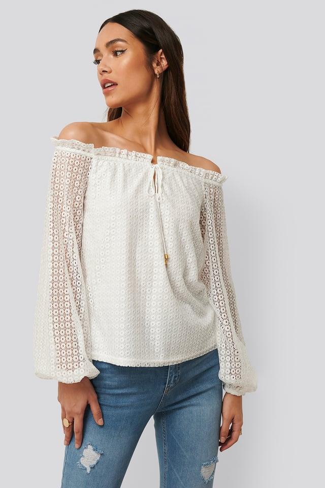 Off-Shoulder-Blus Med Ballongärm White