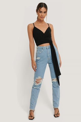 Mid Blue Ripped Knee Jeans