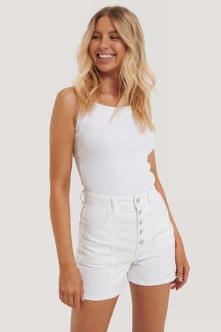 White High Waist Denim Shorts
