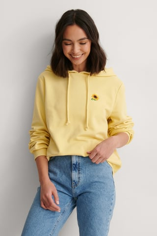 Yellow Organic Embroidery Hoodie