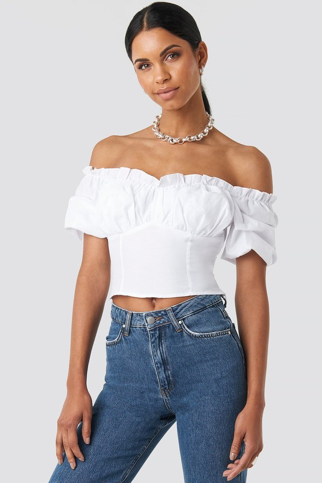 White Off Shoulder Ruffle Cup Cropped Blouse
